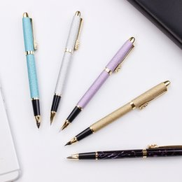 red metal texture 2019 - Colorful Sliver Gold Blue Metal Fountain Pen Cute Kawaii Matte Texture Calligraphy Writing Pen For Student School Supply