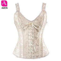 5007275bdf42a AIZEN sexy bustier plus size gothic brocade overbust corset vest top waist  cincher body shaper corselet for women zip white 6xl