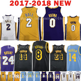 2018 New 0 Kyle Kuzma 2 Lonzo Ball Jersey 2017-18 24 8 14 Kobe Brandon  Ingram Bryant The City Jerseys Mens Embroidery Adult 1489ec15a