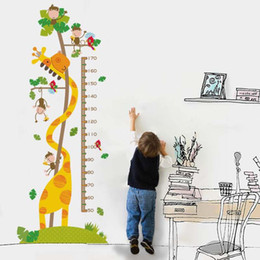 cartoon stick wall Canada - Hot sale Self-adhesive children's room cartoon anime decorative stickers removable Height Measure Wall Sticker Home Decor