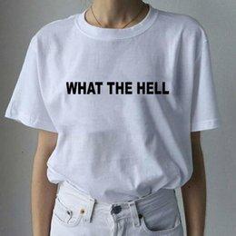 Ingrosso Che diavolo ha stampato la maglietta a maniche corte O-Collo delle donne allentate casual in cotone bianco 2018