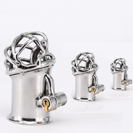 piercing chastity device 2019 - Newest Arrival PA Lock Male Chastity Cage Stainless Steel Chastity Device Sex Toys For Men Glans Puncture Genital Pierci