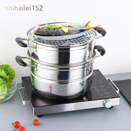 Steel Induction Canada - Household Double Layer Small Steamer Pot Stainless Steel Multi-layer Steamer Pot Apply to Gas and Induction Cooker