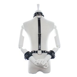 Chinese  Bondage Restraints PU Leather Metal Handcuffs with Neck Collar Fetish Bondage Adult Sexy Toys for Woman Erotic Lingerie manufacturers