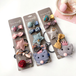 $enCountryForm.capitalKeyWord UK - Korea Cotton Cartoon Sweet Bear Hair Accessories For Girls Hair Clips Elastic Band Hairpin Tie Princess Set