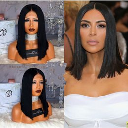Brown Straight Wig Part Australia - 8A Brazilian hair Straight Hair Lace Front Remy Human Hair Wig Short Bob Wigs Middle Part full lace wig Bleached Knots