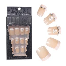 $enCountryForm.capitalKeyWord Canada - 24pcs set pearl pink pure color 3D fake nails Cute french false nails with Sided adhesive short full nail tips Bride
