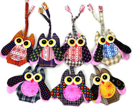 Canvas Coin Gift Bags Wholesale Australia - Owls Embroidery Handmade Women Coin Purse Case Canvas Bag Gift for Baby Kids Children Key Bag