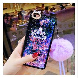 Luxury Diamond fur pompom crystal strap liquid quicksand phone case For  OPPO A37 A39 A57 A59 A71 A73 A79 A83 F5 F7 2de659913475