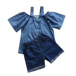 mother daughter shirts 2019 - Summer Mother Daughter Family Clothes Women Kid Girls Off Shoulder T-shirt+Denim Pants Shorts Outfits Set discount mothe