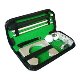 practice kits 2019 - 2018 Mini Golf Tranning Aids Indoor Golf Ball Holder Golf Putter Putting Practice Kit Golfer Training Set Aids With Case