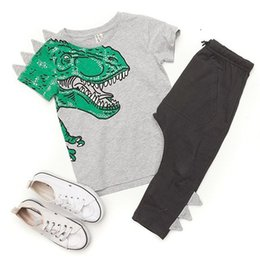 China Animals Kids Baby Boy Outfits Clothes Dinosaur Tops+Long Pants 2PCS Set Cute Boutique Goods Gray Green Cotton Kid Boy Clothing set 1-5T supplier cute casual spring outfits suppliers