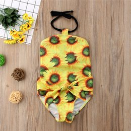 $enCountryForm.capitalKeyWord Canada - Lovely Kid Baby Girl Sunflowers One-Pieces Swimsuit Bowknot Swimwear Bathing Suit Swimwear Kid Girls Clothing Toddler Beach Wear Boutique