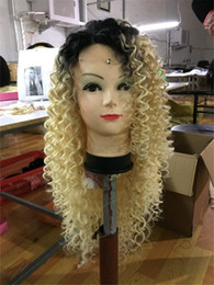 Discount human hair wigs for white women - 100% Human Hair Full Lace Blonde Wig Ombre Color 1B 613 Two Tone Kinky Curly Front Lace Wigs Dark Root With Baby Hair fo