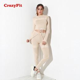 $enCountryForm.capitalKeyWord Canada - CrazyFit 2 Pieces Yoga Set Long Sleeve 2018 Drawstring Fitness Running Suit Female Crop Top Pants Workout Clothes Gym Sportswear