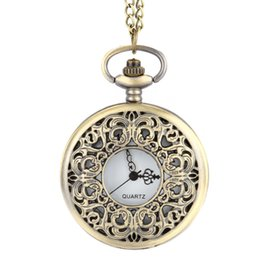 Orange Quartz Pendant NZ - 2017 New Vintage Steampunk Hollow Flower Quartz Pocket Watch Necklace Pendant Chain Clock Gifts LL@17