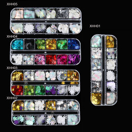 snow nails 2019 - 1 Box 12 grids Mixed AB Nail Flakes Holographic Paillettes Snow Flowers Sequins Metal Nail Art Decor Accessories Manicur