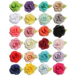 $enCountryForm.capitalKeyWord Australia - 60PCS 5.5cm Newborn Fashion Rolled Fabric Flowers with Leaves for Hair Clips Cute Chiffon Hair Flowers for Accessories