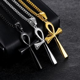 mens pendant crosses 2019 - 2019 Men's Charm Classic Stainless Steel Mens Chains 18K Gold Plated Vintage Amulet Cross Pendant Necklaces Jewelry