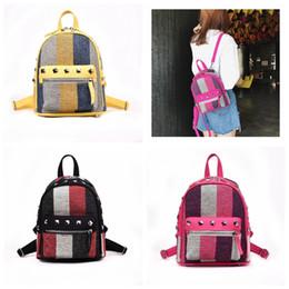 d1ac9696a7c6 Girls Diamond Rivet Stripe Backpack Canvas Travel Leisure Backpacks Women  Fashion Shoulder Bags zipper backpacks 3colors GGA1134