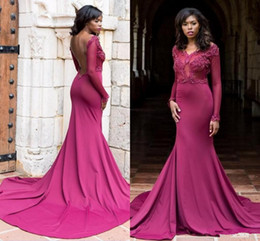 e692d5274d809 African Mermaid Dresses Evening Wear 2018 Sheer Long Sleeves V Neck Lace  Beaded Sexy Backless Formal Black Girls Prom Party Gowns