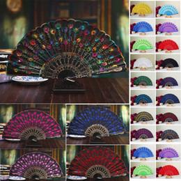 Ingrosso Peacock Handmade del tessuto del ventilatore piegante di seta superiore dei ventilatori da cerimonia nuziale Fan della damigella d'onore accessori di nozze della maniglia di plastica vuota Pieghi il fan