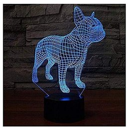 plastic bulldogs UK - 3D French Bulldog Dog Night Light Touch Table Desk Optical Illusion Lamps 7 Color Changing Lights Home Decoration Xmas Birthday Gift