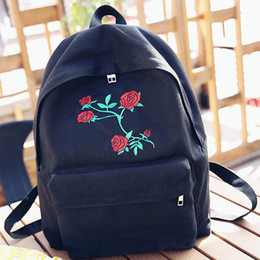 White Rose Pattern Australia - Women Bagpack Canvas Embroidery Flowers Black Rose Pattern Floral School BackpacSchool Bags For Girls Rugtas #442