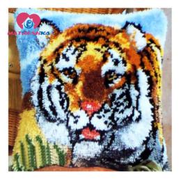 $enCountryForm.capitalKeyWord Canada - Handmade Embroidery Pillowcase Latch Hook Rug Kits Animal Knooppakket Crochet Hook Canvas Yarn Cushion Needlework Tapestry Kit