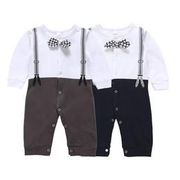 Infant boy suspenders online shopping - Baby boys gentleman romper infant Tie suspender print Jumpsuits Fashion Boutique kids Climbing clothes colors C5567