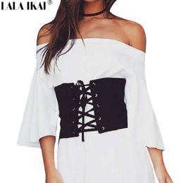 7cf3e5246f Corset Waist Fashion Belt NZ - Women Bandage Cross Waist Belt Vintage Black  Faux Suede Lace