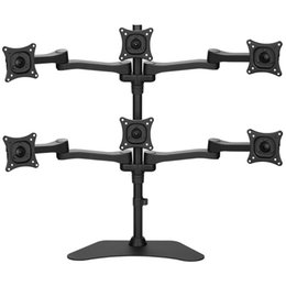 "lcd tv 24 2019 - Aluminum Alloy 13-24"" 6 Screen LCD TV Mount Monitor Holder Table Stand Ball Joint Rotating Mount Bracket ML1006 dis"