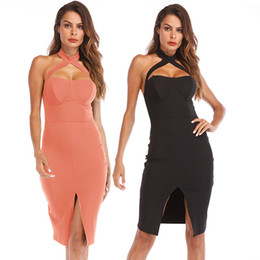Womens Sexy Halter Neck Bustier Bodycon Dress Open Back Front Split Club  Party Night Dress 2018 813c70cc212f