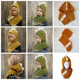 China AMUSE 2 in 1 Dinosaur scarf cap Kids Infant Beanies Warm Knitted Hats Children cartoon warmer Winter crochet Hat 12pcs 2Colors AAA1071 cheap knit infant hats suppliers
