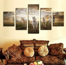 Cheap Large Abstract Canvas Art NZ - Unframed 5 pcs High Quality Cheap Art Pictures Running Horse Large HD Modern Home Wall Decor Abstract Canvas Print Oil Painting