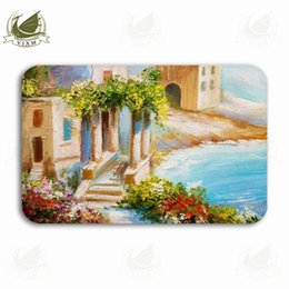 kitchen rugs blue Australia - Vixm Oil Painting House Near Sea Coast Colorful Flowers Summer Welcome Door Mat Rugs Flannel Anti-slip Entrance Indoor Kitchen Bath Carpet