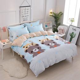 Discount bear sheets sets - Light Bear Home Textile Printed 3 4pcs Bedding Set Bed Cover Bed Sheet Duvet Cover Pillowcase Linen Bedclothes Queen