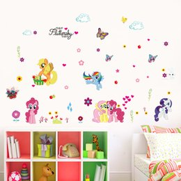 self stick flower decals 2019 - Removable Love Horse Flower Butterfly DIY Wall Stickers Kids Girls Boy Bedroom Decorations Home Decor Decal Mural Arthai