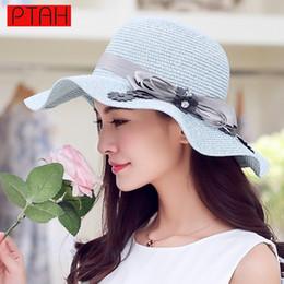 $enCountryForm.capitalKeyWord Australia - PTAH Summer Wide Large Brim Beach Straw Visors Foldable Sea Tour Sun Hats Adjustable For Women Elegant High Quality Strohhut 113