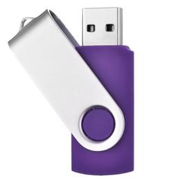 Flash Drive Pen Sticks Australia - Purple Rotating 32GB USB 2.0 Flash Drive Bulk 50pcs Swivel Metal Flash Memory Stick 32gb Thumb Pen Drives Storage for Computer Laptop Tablet