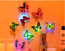 Color Changeable Stickable Led Butterfly Night Lights Lamp Festival Party Flash Lighting Toy Home Decoration Lights