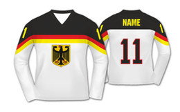 germany jersey black 2019 - free shipping mens Team Germany Ice Hockey Jersey Embroidery Stitched Customize any number and name discount germany jer