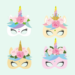 12pcs 1set Paper Rainbow Color Unicorn Mask Material Masquerade Decoration Masks For Birthday Party Dress Up 10pc Z
