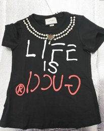 T shirTs sTars online shopping - star with the British style of the British and American women hand nail pearl the letter printed short sleeve T shirt beads short sleeves