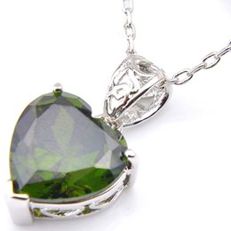 Olive Pendant NZ - 10Pcs Luckyshine Excellent Shine Heart Fire Swiss Olive Peridot Cubic Zirconia Gemstone Silver Pendants Necklaces for Holiday Weddin