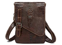 Mens Leather Messenger Bags UK - Mens High Grade Genuine Leather Crossbody Bag Crocodiling Grain Leather Shoulder Bag