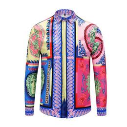 Wholesale purple colour dress for sale – halloween 2019 new long sleeve men Casual shirts colour D printed mens dress shirts Slim Fit medusa Silk cotton Shirts
