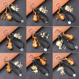 $enCountryForm.capitalKeyWord NZ - Alloy Twelve Chinese Zodiac Animal Luck Keychains - Wood Gourd Keyring With PU Hand Rope Bag Car Key Pendant Charm Keychains