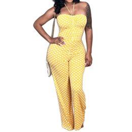 $enCountryForm.capitalKeyWord Canada - Boho Polka Dot Sexy Strapless Halter Jumpsuits Women Sleeveless Elegant Jumpsuit Ladies Wide Leg Long Playsuit Rompers Overalls