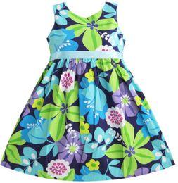$enCountryForm.capitalKeyWord UK - Sunny Fashion Girls Dress Blue Belt Flower Party Kids Sundress Cotton 2018 Summer Princess Wedding Dresses Clothes Size 2-10